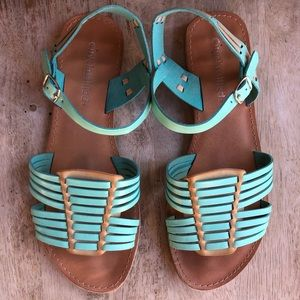 city classified Strappy Huraches Teal Sandals